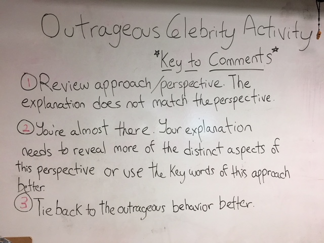 Celebrity Activity Comments Key